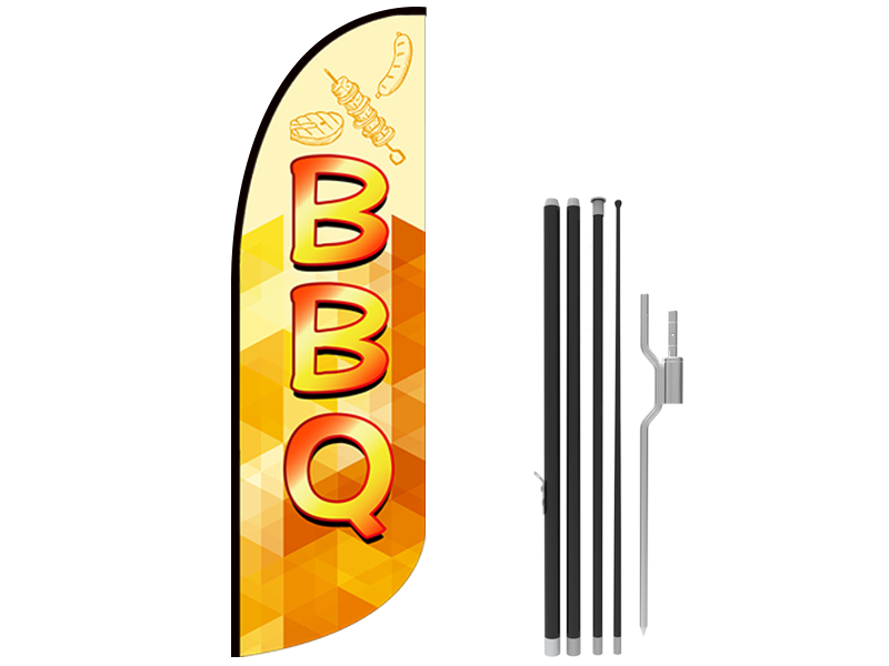 10ft BBQ Stock Blade Flag with Ground Stake 03