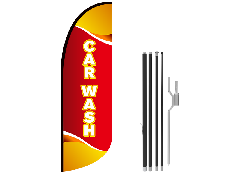 10ft CAR WASH Stock Blade Flag with Ground Stake 04