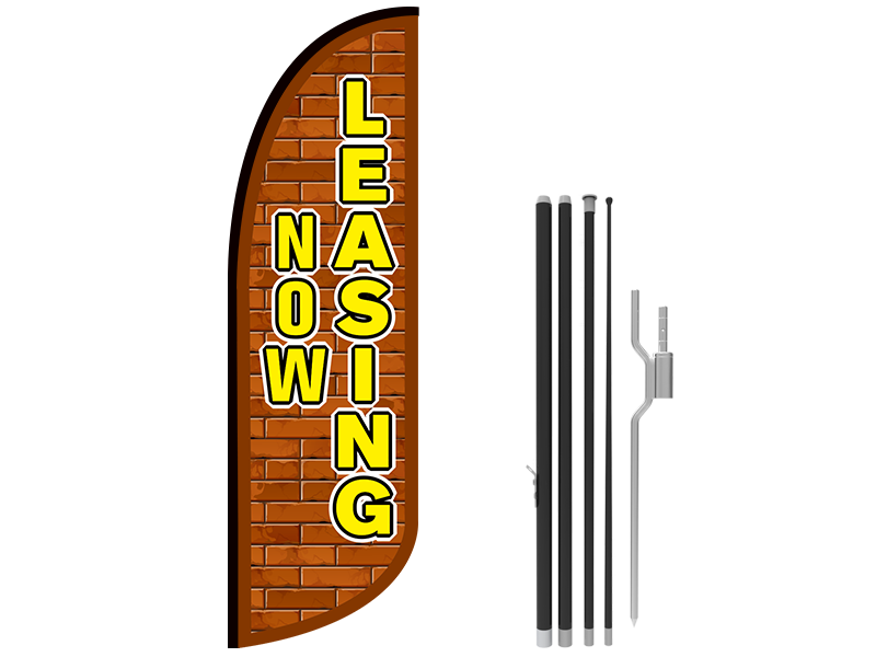 10ft NOW LEASING Stock Blade Flag with Ground Stake 01