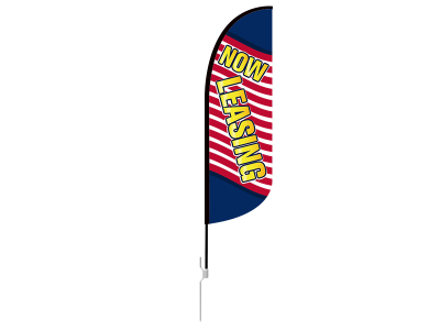 10ft NOW LEASING Stock Blade Flag with Ground Stake 02