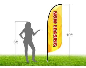 10ft NOW LEASING Stock Blade Flag with Ground Stake 04