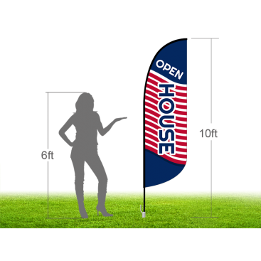 10ft OPEN HOUSE Stock Blade Flag with Ground Stake 02