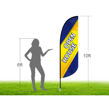 10ft OPEN HOUSE Stock Blade Flag with Ground Stake 03