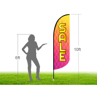 10ft SALE Stock Blade Flag with Ground Stake 04