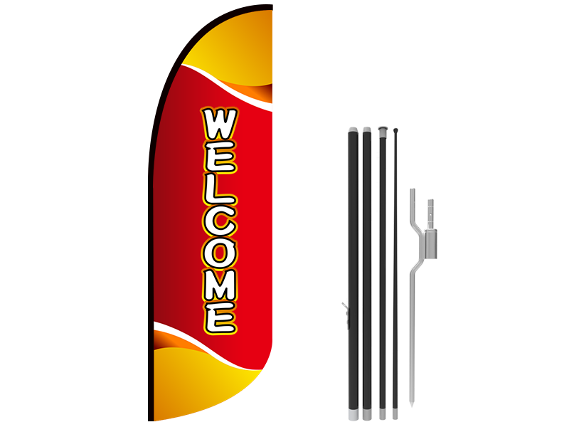 10ft WELCOME Stock Blade Flag with Ground Stake 03