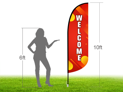 10ft WELCOME Stock Blade Flag with Ground Stake 04