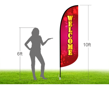 10ft WELCOME Stock Blade Flag with Ground Stake 05