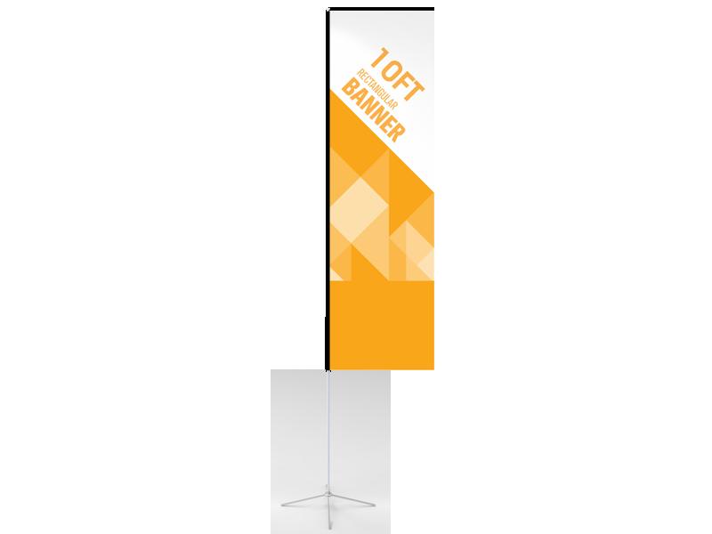 10ft Custom Rectangular Flag with Cross Base & Water Bag