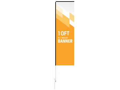 10ft Custom Rectangular Flag with Ground Stake
