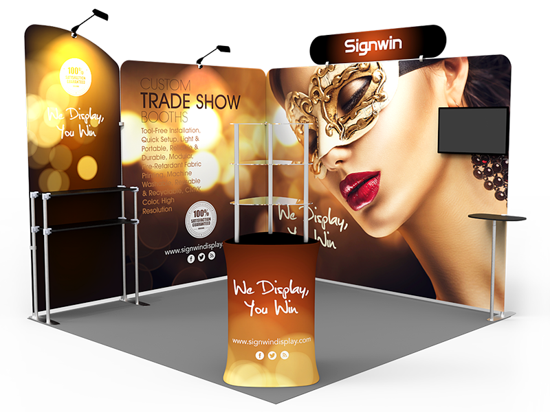 10x10ft Custom Corner & Element Trade Show Booth T