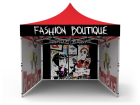 10x10 Custom Pop Up Canopy Tent & Single-Sided Full Backwall & 2 x Single-Sided Full Sidewalls