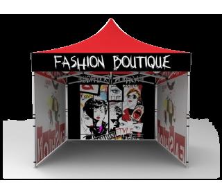 10x10 Custom Pop Up Canopy Tent & Single-Sided Full Backwall & 2 x Single-Sided Full Sidewalls