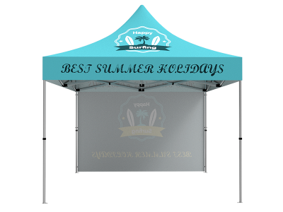 10x10 Custom Pop Up Canopy Tent & Single-Sided Full Backwall
