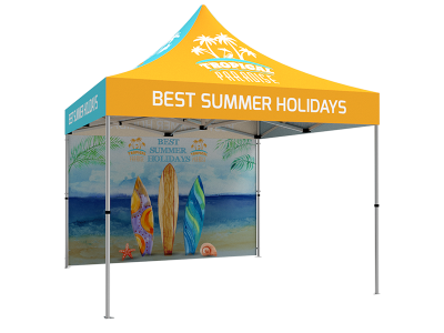 10x10 Custom Pop Up Canopy Tent & Double-Sided Full Backwall