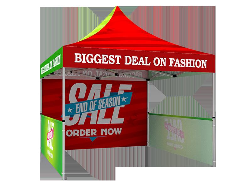 10x10 Custom Pop Up Canopy Tent & Double-Sided Full Backwall & 2 x Single-Sided Half Sidewalls