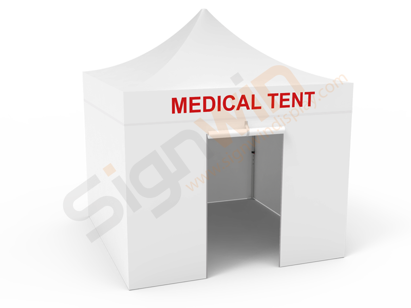 Medical/Quarantine/Isolation Tent 10x10 White with Full Walls & Rolling Door 01