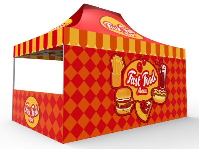 10x15 Custom Pop Up Canopy Tent & Double-Sided Full Backwall & 2 x Double-Sided Half Sidewalls