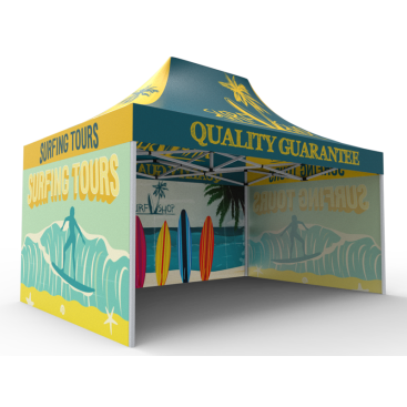 10x15 Custom Pop Up Canopy Tent & Single-Sided Full Backwall & 2 x Single-Sided Full Sidewalls
