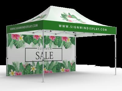 10x15 Custom Pop Up Canopy Tent & Double-Sided Full Backwall