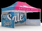 10x15 Custom Pop Up Canopy Tent & Double-Sided Full Backwall & 2 x Single-Sided Half Sidewalls