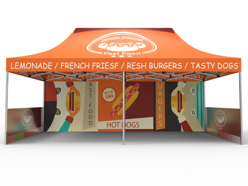 10x20 Custom Pop Up Canopy Tent & Single-Sided Full Backwall & 2 x Single-Sided Half Sidewalls