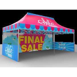 10x20 Custom Pop Up Canopy Tent & Double-Sided Full Backwall & 2 x Double-Sided Half Sidewalls