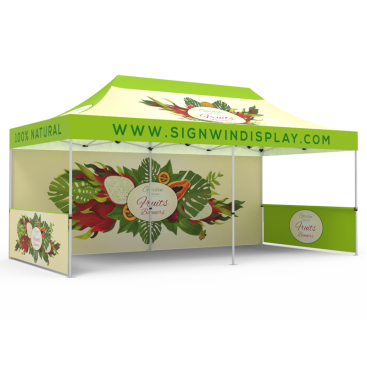 10x20 Custom Pop Up Canopy Tent & Single-Sided Full Backwall & 2 x Double-Sided Half Sidewalls