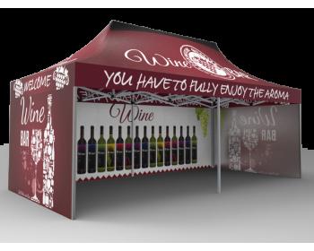 10x20 Custom Pop Up Canopy Tent & Single-Sided Full Backwall & 2 x Single-Sided Full Sidewalls