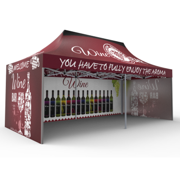 10x20 Custom Pop Up Canopy Tent & Single-Sided Full Backwall & 2 x Single-Sided Full Sidewalls