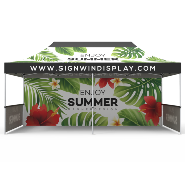 10x20 Custom Pop Up Canopy Tent & Double-Sided Full Backwall & 2 x Single-Sided Half Sidewalls