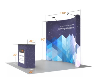 Custom 10ft Curved & Recyclable Tension Fabric Trade Show Booth Backwall Display with Durable Case to Podium (Frame + Graphic)