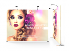Custom 10ft Flat & Durable Tension Fabric Trade Show Backwall Display (Frame + Graphic)