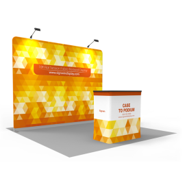 Custom 10ft Flat & Attractive Tension Fabric Trade Show Booth Backwall Display with Durable Case to Podium (Frame + Graphic)