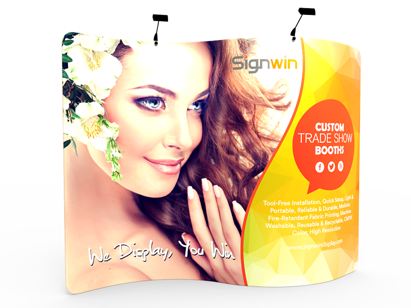 Custom 10ft S-Shaped & Premium Tension Fabric Trade Show Backwall Display (Frame + Graphic)