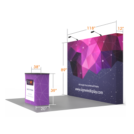 Custom 10ft Flat & Foldable Fabric Pop Up Trade Show Booth Backwall Display with Premium Case to Podium (Frame + Graphic)