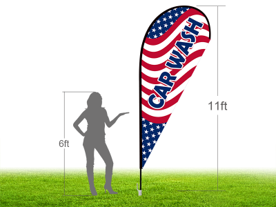 11ft CAR WASH Stock Teardrop Flag with Ground Stake 04