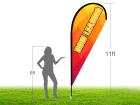 11ft NOW LEASING Stock Teardrop Flag with Ground Stake 02
