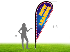 11ft NOW LEASING Stock Teardrop Flag with Ground Stake 03