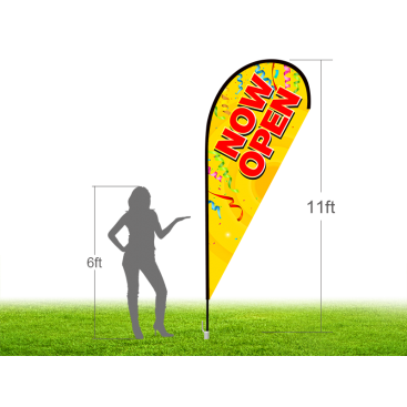 11ft NOW OPEN Stock Teardrop Flag with Ground Stake 01