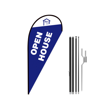 11ft OPEN HOUSE Stock Teardrop Flag with Ground Stake 01