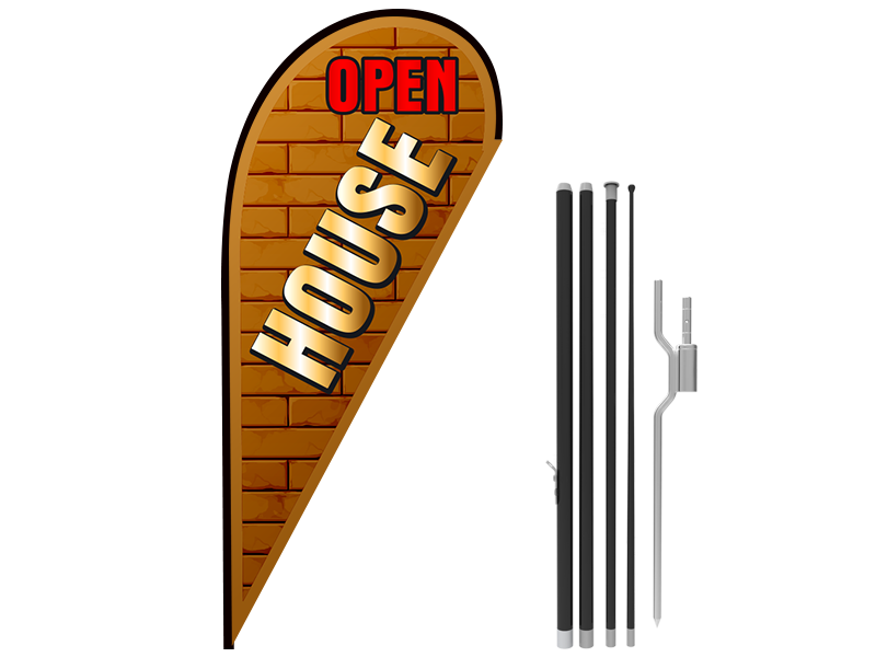 11ft OPEN HOUSE Stock Teardrop Flag with Ground Stake 02