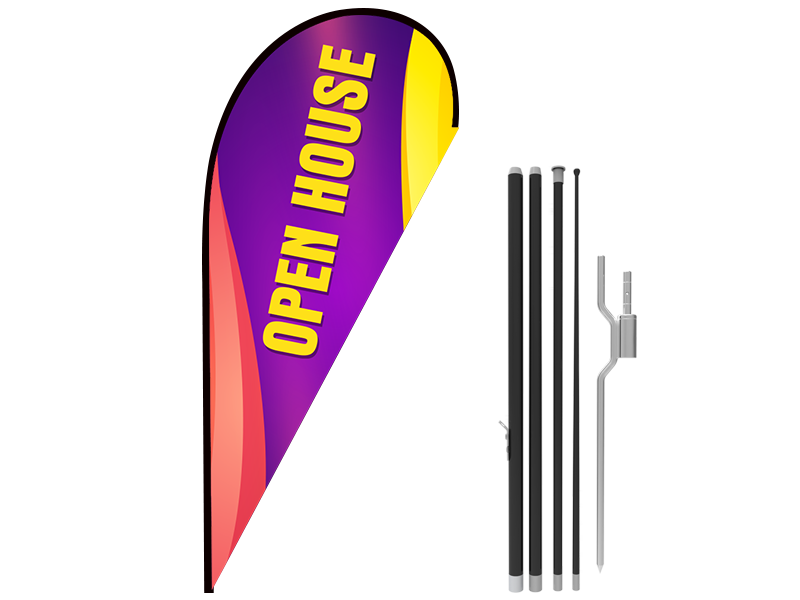 11ft OPEN HOUSE Stock Teardrop Flag with Ground Stake 05