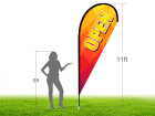 11ft OPEN Stock Teardrop Flag with Ground Stake 01