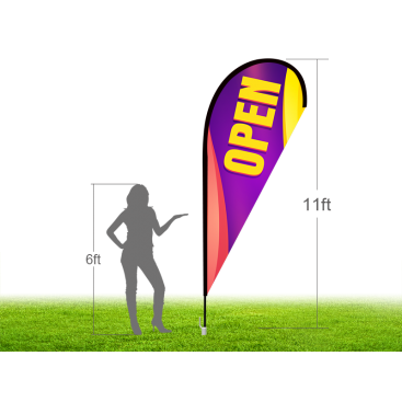 11ft OPEN Stock Teardrop Flag with Ground Stake 02