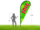 11ft SALE Stock Teardrop Flag with Ground Stake 01