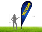 11ft WELCOME Stock Teardrop Flag with Ground Stake 01