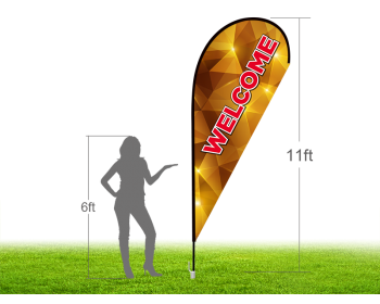 11ft WELCOME Stock Teardrop Flag with Ground Stake 02