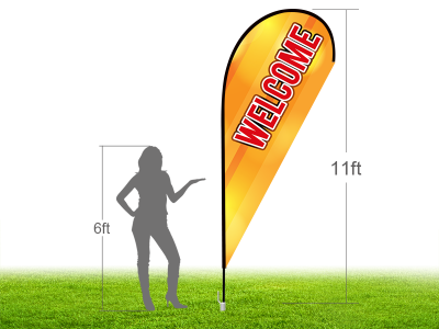 11ft WELCOME Stock Teardrop Flag with Ground Stake 03