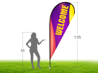 11ft WELCOME Stock Teardrop Flag with Ground Stake 04