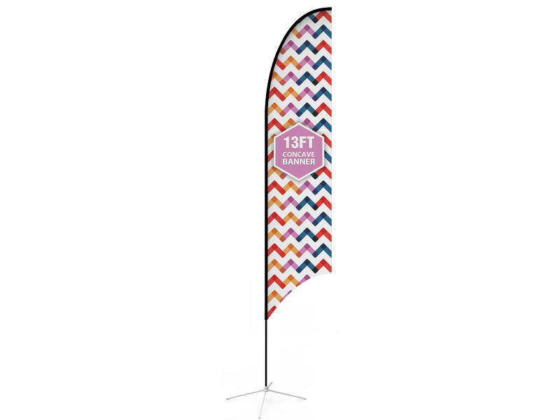 13ft Concave Feather Flag with Cross Base & Water Bag